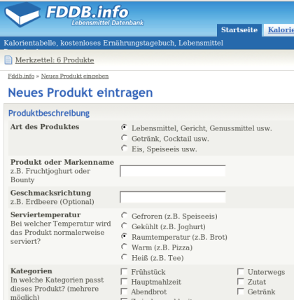 FDDB Produkteintrag